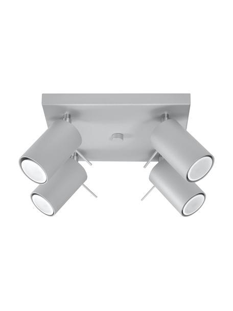 Faretti da soffitto grigi Etna, Paralume: acciaio verniciato, Baldacchino: acciaio verniciato, Grigio, Larg. 25 x Alt. 15 cm