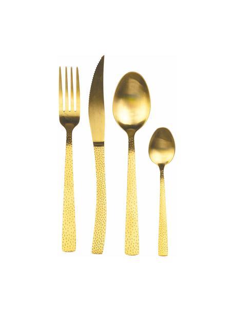 Goudkleurige bestekset Posate met gehamerde handvatten, 6 personen (24-delig), Goudkleurig, Set met verschillende formaten
