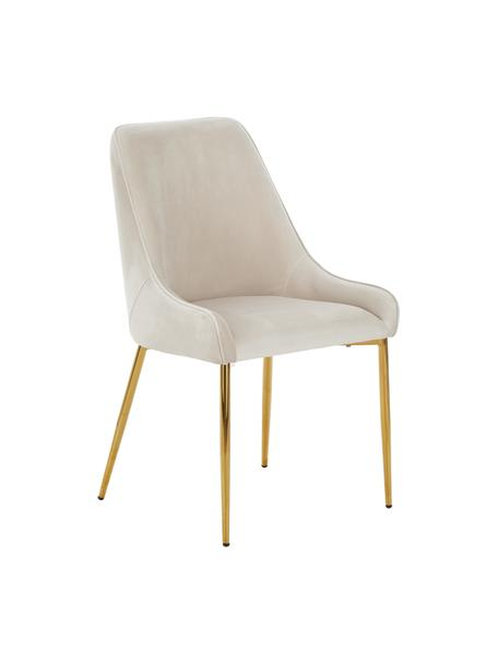 Fluwelen stoel Ava in beige, Bekleding: fluweel (100% polyester), Poten: metaal, Fluweel beige, B 53 x D 60 cm