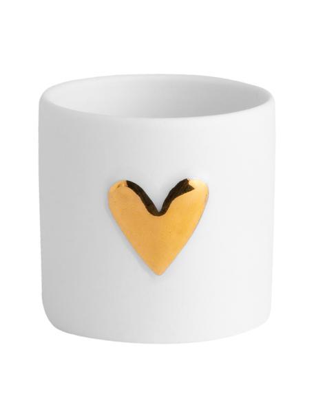 Portalumini Heart, porcellana, 2 pz., Porcellana, Bianco, dorato, Ø 5 x Alt. 5 cm