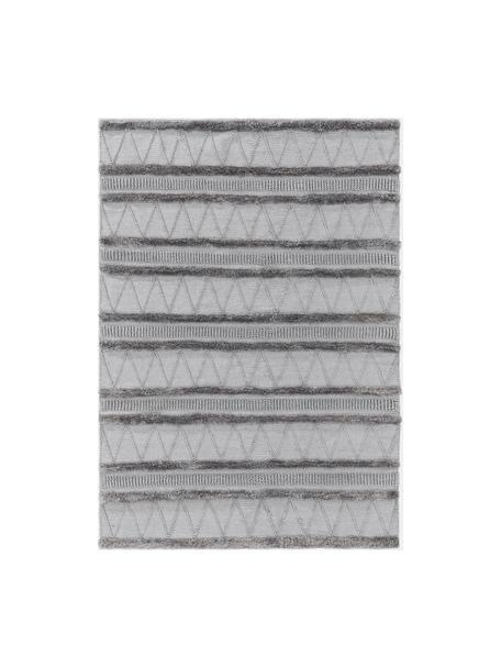 Ethno in- & outdoor vloerkleed Toni met hoog-laag structuur, 100% polyester (gerecycled PET), Grijs, B 120 x L 170 cm (maat S)
