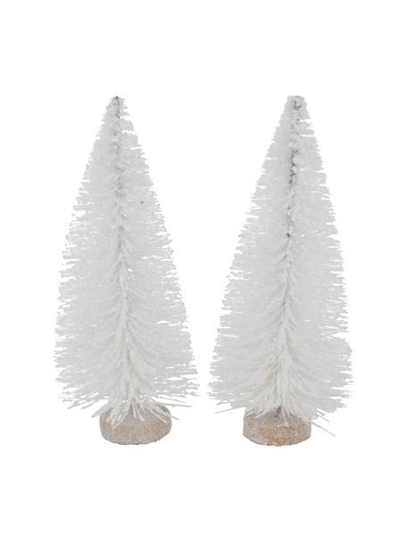 Set 2 alberi decorativi Glitzy, alt. 5 cm, Materiale sintetico, Bianco, Ø 7 x Alt. 15 cm