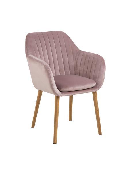Krzesło z aksamitu z podłokietnikami i drewnianymi nogami Emilia, Tapicerka: aksamit poliestrowy Dzięk, Nogi: drewno dębowe, olejowane, Aksamitny blady różowy, drewno dębowe, S 57 x G 59 cm