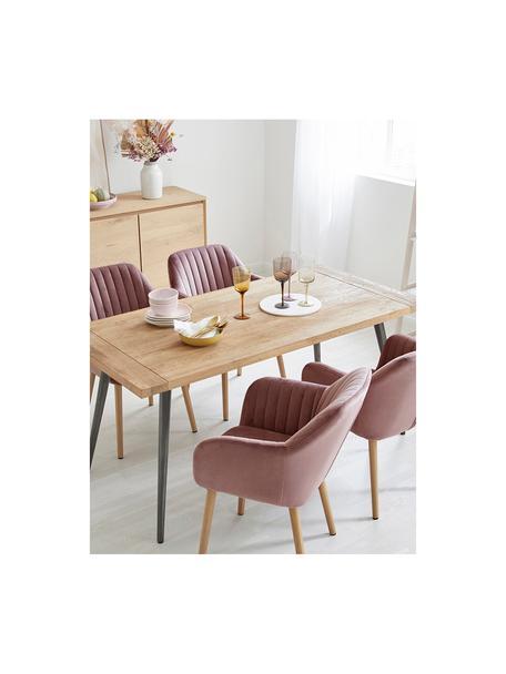 Krzesło z podłokietnikami z aksamitu i drewnianymi nogami Emilia, Tapicerka: aksamit poliestrowy Dzięk, Nogi: drewno dębowe, olejowane, Aksamitny blady różowy, drewno dębowe, S 57 x G 59 cm