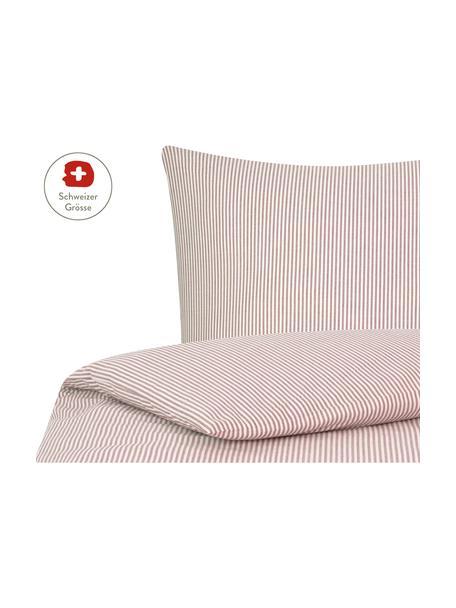 Baumwoll-Bettdeckenbezug Ellie, fein gestreift, Webart: Renforcé Fadendichte 118 , Weiss, Rot, 160 x 210 cm