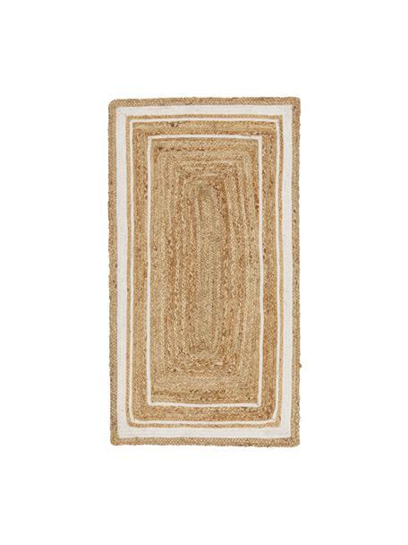 Handgewebter Jute-Teppich Clover, 100% Jute, Beige, Weiss, B 80 x L 150 cm (Grösse XS)