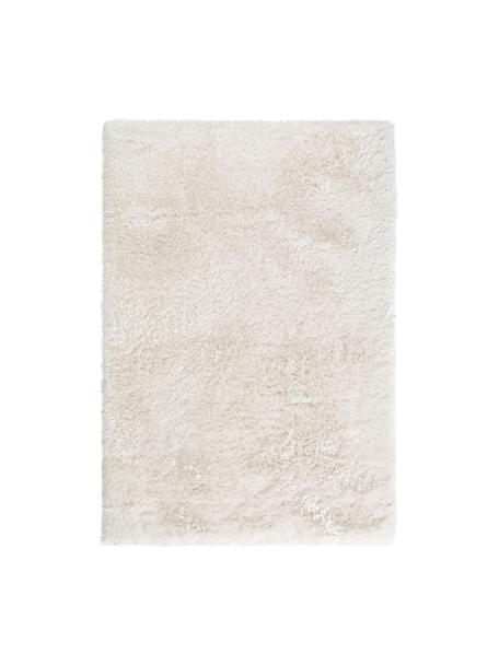 Tappeto a pelo lungo bianco effetto lucido Lea, Vello: 50% poliestere, 50% polip, Retro: 100% juta, Bianco, Larg. 140 x Lung. 200 cm (taglia S)