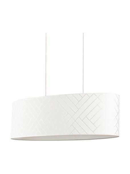 Große Ovale Pendelleuchte Punto mit Fischgrätmuster, Lampenschirm: Papier, Baldachin: Eichenholz, geölt, Weiß, Silberfarben, 80 x 24 cm