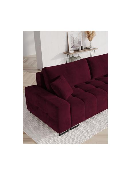Sofá cama de terciopelo Byron (3plazas), Tapizado: terciopelo de poliéster A, Estructura: madera de pino maciza, ma, Patas: metal pintado, Rojo vino, An 250 x F 105 cm