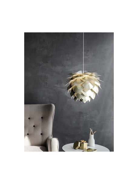 Hanglamp Silvia, bouwpakket, Lampenkap: polypropyleen, Lampenkap: messingkleurig. Snoerpendel: zwart, Ø 50  x H 41 cm