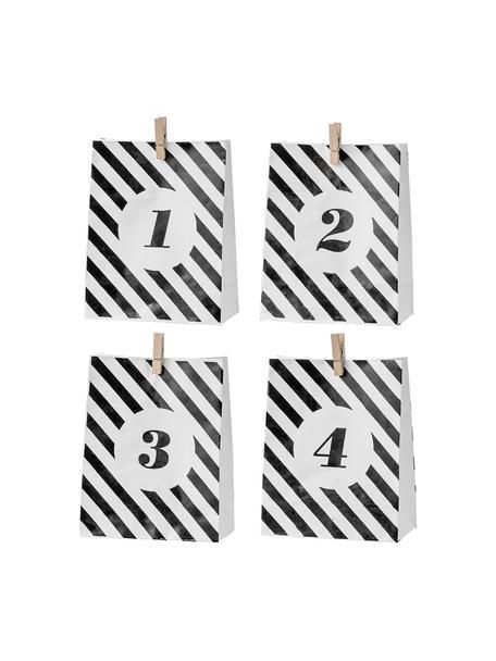 Papiertüten-Set Advent H 18 cm, 4 Stück, Papier, Schwarz, Weiß, 15 x 18 cm