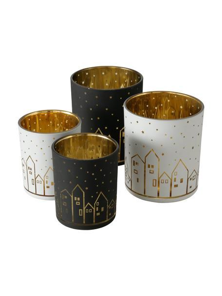 Waxinelichthoudersset Little Town, 4-delig, Glas, Wit, zwart, goudkleurig, Set met verschillende formaten