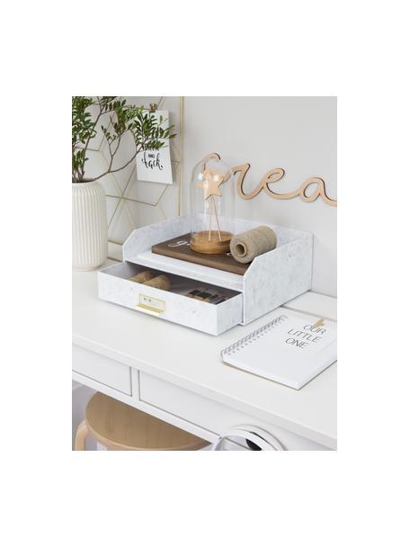 Organizador de escritorioWalter, Organizador: cartón laminado resistent, Mármol blanco, An 33 x Al 13 cm
