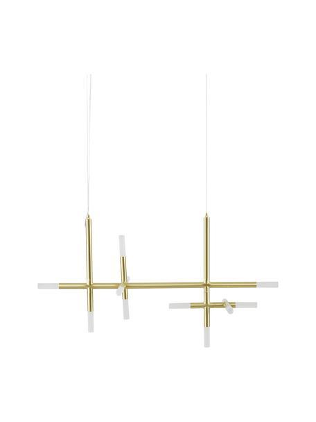 Lampada a sospensione a LED dorata Gratia, Struttura: metallo zincato, Paralume: vetro acrilico, Baldacchino: metallo zincato, Oro, Larg. 90 x Alt. 90 cm