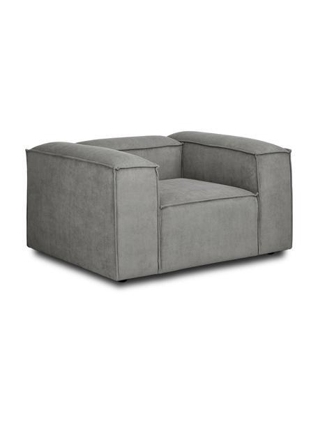 Sessel Lennon in Grau aus Cord, Bezug: Cord (92% Polyester, 8% P, Gestell: Massives Kiefernholz, Spe, Füße: Kunststoff Die Füße befin, Cord Grau, B 130 x T 101 cm
