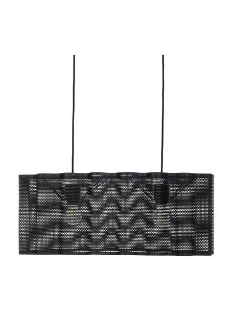 Ovale hanglamp Glicine in zwart, Lampenkap: gecoat metaal, Baldakijn: gecoat metaal, Zwart, 70 x 28 cm