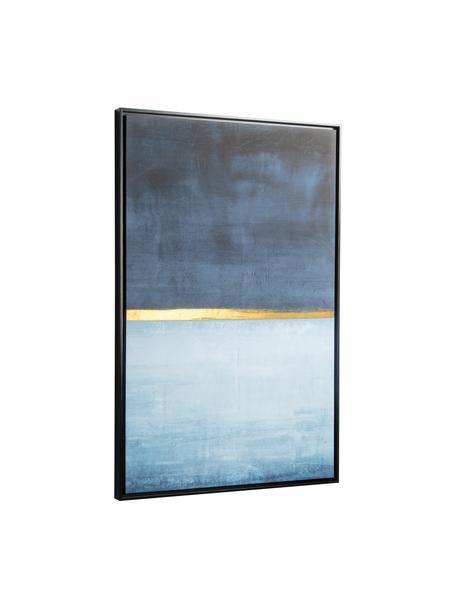 Canvas print Wrigley, Lijst: gecoat MDF, Afbeelding: canvas, Blauwtinten, goudkleurig, 60 x 90 cm