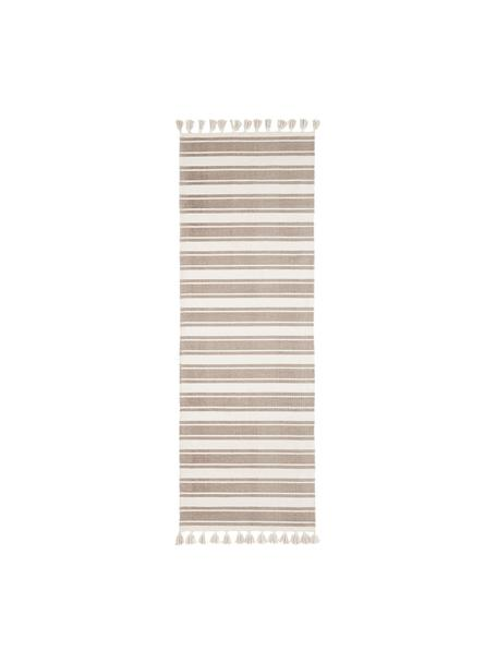 Gestreepte handgeweven katoenen loper Vigga met kwastjes, Taupe, beige, 80 x 250 cm