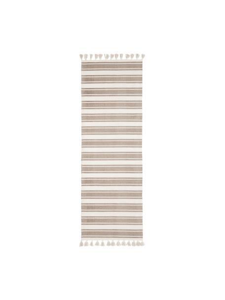 Passatoia in cotone a righe tessuta a mano con nappe Vigga, 100% cotone, Taupe, beige, Larg. 80 x Lung. 250 cm