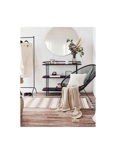 Gestreifter Baumwollläufer Vigga mit Quasten, handgewebt, 100% Baumwolle, Taupe, Beige, 80 x 250 cm