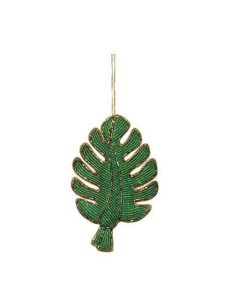 Baumanhänger Leaf H 14 cm, 2 Stück, Grün, Goldfarben, 9 x 14 cm