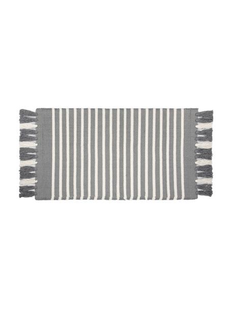 Tappeto bagno con frange Stripes & Structure, 100% cotone, Grigio, bianco latteo, Larg. 60 x Lung. 100 cm