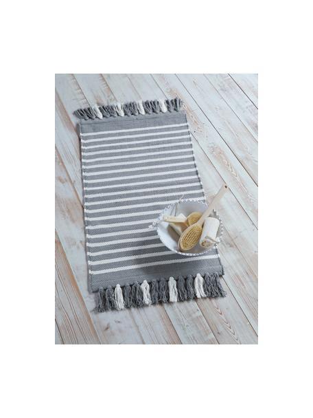 Gestreepte badmat Stripes & Structure met franjes, 100% katoen, Grijs, gebroken wit, 60 x 100 cm