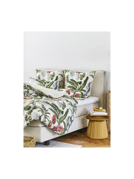 Baumwollperkal-Bettwäsche Tropicana mit tropischem Print, Webart: Perkal Fadendichte 200 TC, Vorderseite: MehrfarbigRückseite: Cremeweiss, 135 x 200 cm + 1 Kissen 80 x 80 cm