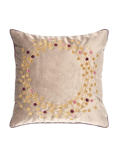 Fluwelen kussenhoes Circle met geborduurd wintermotief, Polyester fluweel, Zandkleurig, goudkleurig, 45 x 45 cm