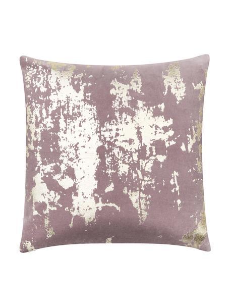 Samt-Kissenhülle Shiny mit schimmerndem Vintage Muster, 100% Baumwollsamt, Mauve, Goldfarben, 40 x 40 cm