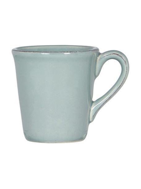 Tazas de café Constance, 2uds., estilo rústico, Gres, Verde menta, Ø 8 x Al 6