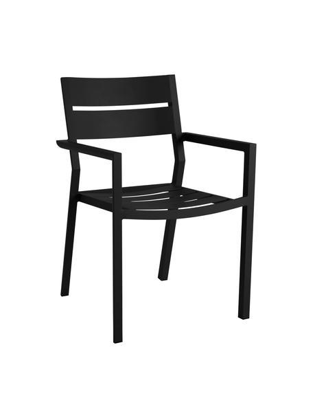 Sedia impilabile da giardino nera Delia, Alluminio verniciato a polvere, Nero, Larg. 55 x Prof. 55 cm