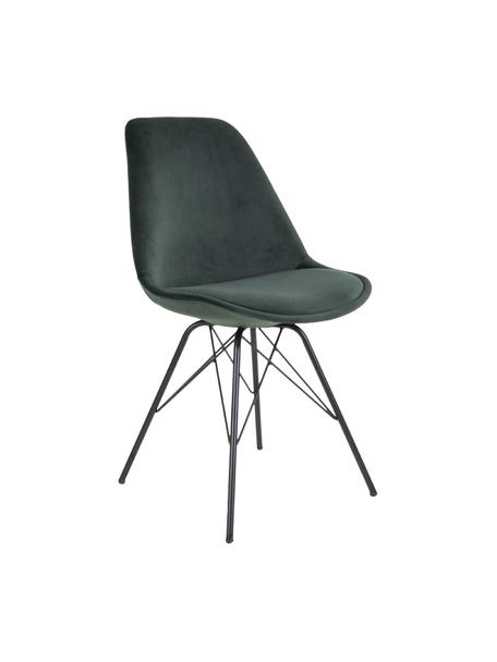 Sedia imbottita in velluto Oslo 2 pz, Gambe: metallo rivestito, Verde, Larg. 48 x Alt. 55 cm