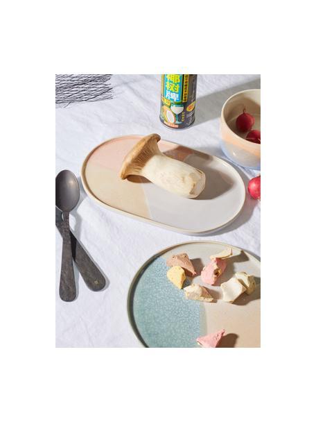 Handgemachte Colorblocking Frühstücksteller Gallery, 2 Stück, Steingut, Mint, Beige, Ø 19 cm