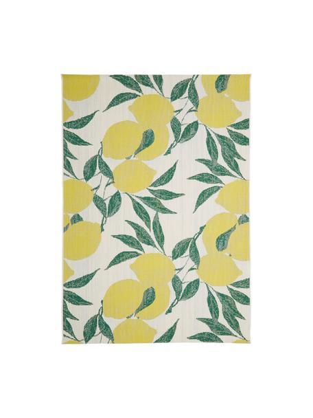 Tappeto da interno-esterno con stampa limoni Limonia, 86% polipropilene, 14% poliestere, Bianco crema, giallo, verde, Larg. 160 x Lung. 230 cm  (taglia M)