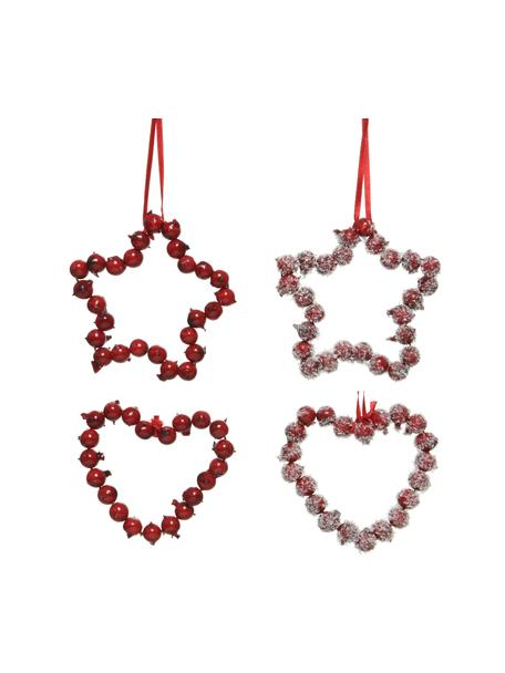 Bruchfeste Baumanhänger Herz H 9 cm, 4 Stück, Rot, Weiß, 9 x 9 cm
