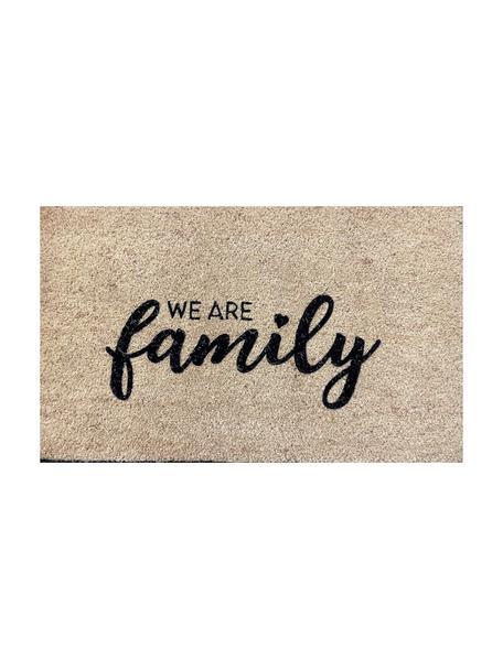 Felpudo We Are Family, Parte superior: fibra de coco, Reverso: vinilo, Beige, negro, An 45 x L 75 cm