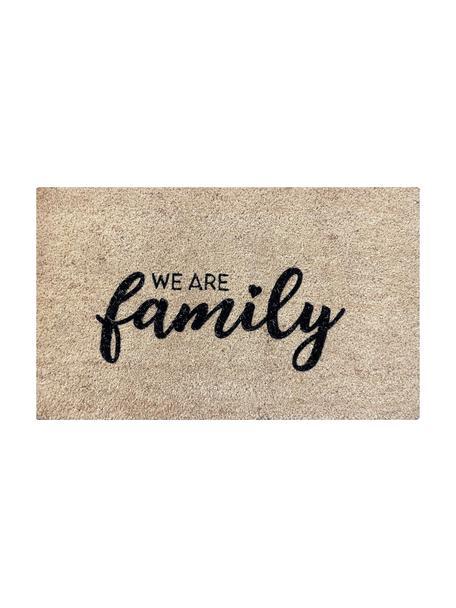 Deurmat We Are Family, Bovenzijde: kokosvezels, Onderzijde: vinyl, Beige, zwart, 45 x 75 cm