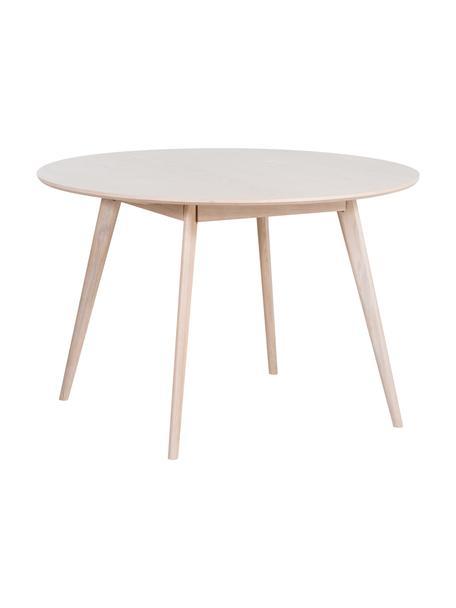 Mesa de comedor de madera maciza Yumi, Madera de roble maciza y blanqueada, Madera de roble, blanqueada, Ø 115 cm