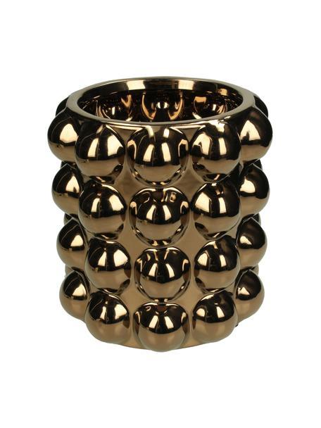 Übertopf Spots, Steingut, Kupferfarben, Ø 16 x H 17 cm