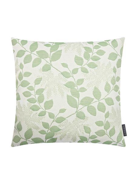 Outdoor kussenhoes Cruz met bladpatroon in groen, 100% Dralon (polyacryl), Groen, mintgroen, 50 x 50 cm
