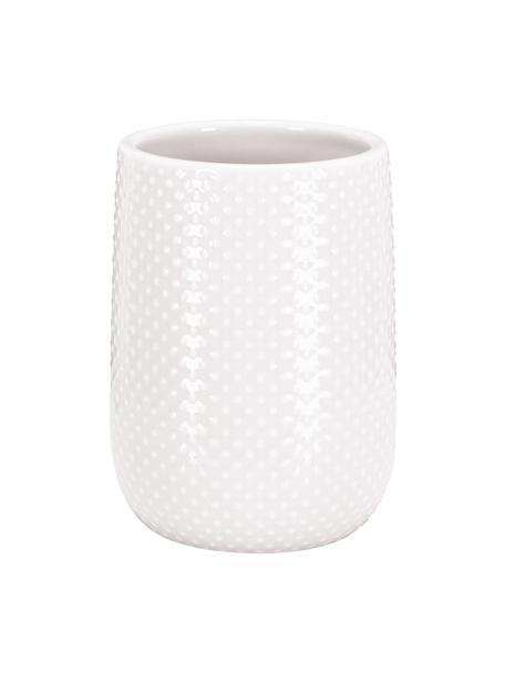 Tandenborstelbeker Dotty van keramiek, Keramiek, Wit, Ø 8 x H 11 cm
