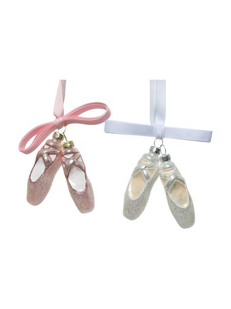 Baumanhänger Ballerinas H 9 cm, 2 Stück, Rosa, Weiss, Silberfarben, 5 x 9 cm