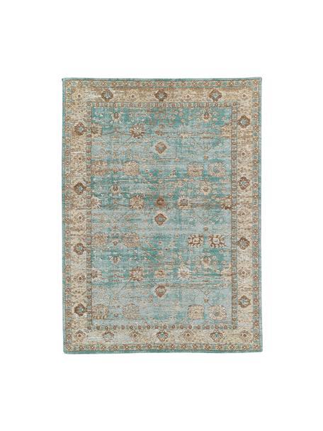 Ręcznie tkany dywan szenilowy w stylu vintage Rimini, Turkusowy, taupe, brązowy, S 120 x D 180 cm (Rozmiar S)