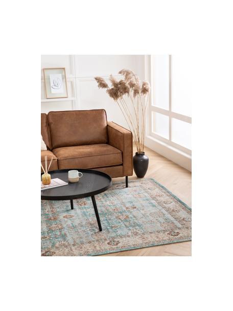 Alfombra artesanal de chenilla Rimini, estilo vintage, Parte superior: 95%algodón, 5%poliéster, Reverso: 100%algodón, Turquesa, gris pardo, marrón, An 120 x L 180 cm(Tamaño S)