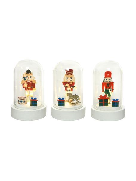 Set 3 oggetti luminosi a LED Nussknacker, alt. 9 cm, Materiale sintetico, pannello di fibra a media densità, Bianco, multicolore, Ø 6 x Alt. 9 cm