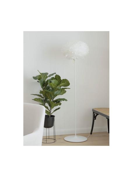 Grote vloerlamp Eos van veren, Lampenkap: ganzeveren, Frame: gelakt aluminium, Lampvoet: gelakt staal, Wit, Ø 45 x H 170 cm