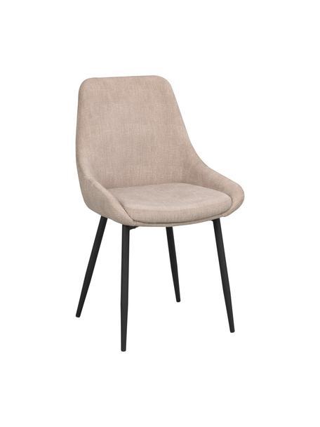 Krzesło tapicerowane z aksamitu Sierra, 2 szt., Tapicerka: 100% aksamit poliestrowy, Nogi: metal lakierowany, Beżowy, czarny, S 49 x G 55 cm