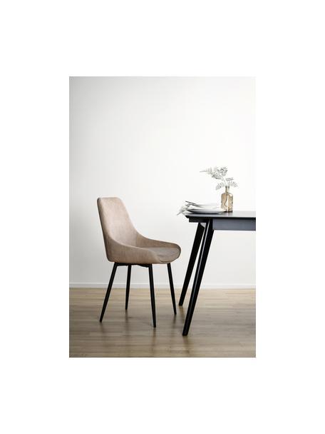 Sedia imbottita in velluto Sierra 2 pz, Rivestimento: 100% velluto di poliester, Gambe: metallo verniciato, Beige, nero, Larg. 59 x Alt. 62 cm