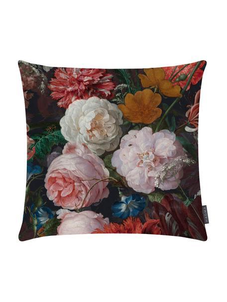 Federa arredo in velluto con motivo floreale Fiore, Velluto di poliestere, stampato, Antracite, rosa, rosso, giallo, verde, blu, Larg. 40 x Lung. 40 cm